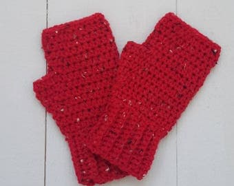 Fingerless Mitts, Chunky Gloves, Ribbed Crochet Gloves, Wrist warmers
