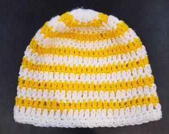 Yellow and White Stripe Beanie