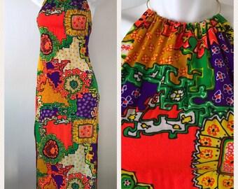Vintage 60s Metal Ring Neck Halter Barkcloth Maxi Dress Hawaiian Neon Orange