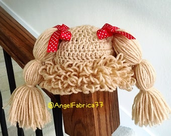 Crochet Cabbage Patch Costume Hat Wig, Baby Shower, Holiday Costume, Beige, Brown Photo Prop,Free shipping United States