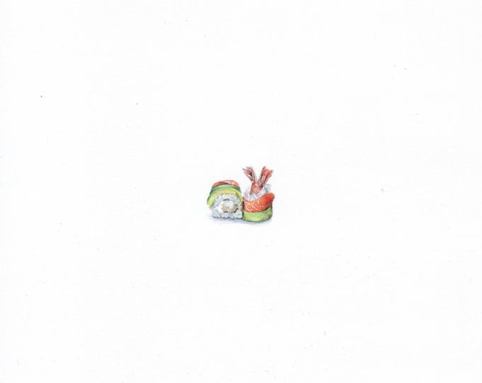Print of Miniature painting of Sushi. tiny painting Sushi art 5 x 5