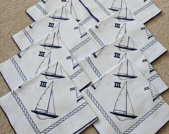 Set of Eight Vintage Nautical Napkins