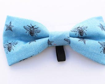 Blue Bumble Bee Bow Tie for Puppy or Dog