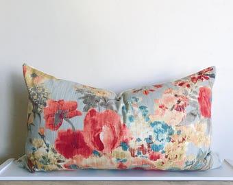 Floral Lumbar Pillow Cover 14x24