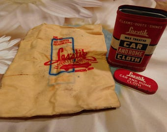 Vintage Las Stik Wax Treated Car and Home Cloth in Metal Tin