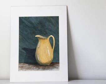 Vintage watercolor of a yellow pitcher still life