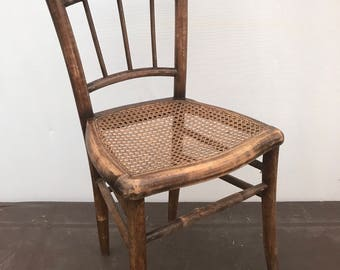 Old wooden Bistro Chair turned + seat caned patent Vintage