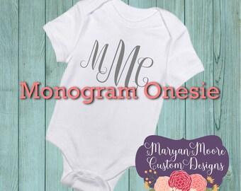 Monogram 3 Initial Custom Name Onesie Bodysuit