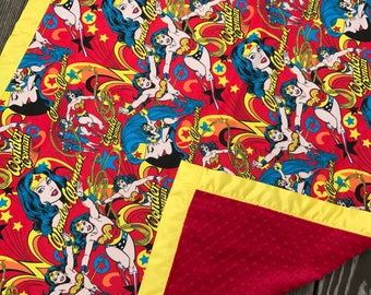 Wonder Woman Flannel and Minky Blanket With Yellow Satin Binding, Superhero