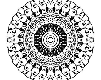 Mandala Coloring Page,Digital Download,Coloring Book Page,Easy Download,Mandala Coloring,Fun Coloring Book Page,Download Mandala,Adult Color