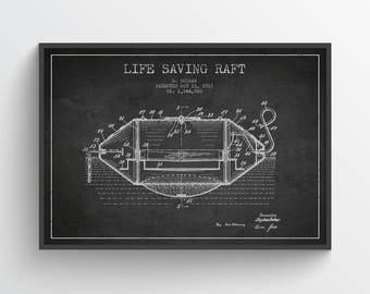 1917 Life Saving Raft Poster, Life Raft Poster, Life Raft Print, Patent Art Print, Patent Print, Blueprint, Home Decor, Gift Idea, NA35P