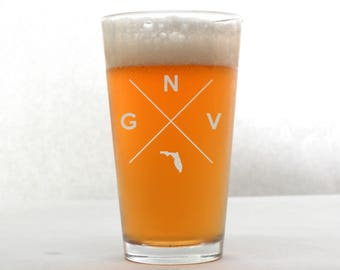Gainesville Glass | Gainesville Pint Glass - Beer Glass - Pint Glass - Beer Glasses - Pint Glasses - Beer Mug - Gainesville Florida