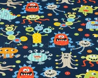 Monster Mash on Navy - Michael Miller Fabrics by the Half Metre Kids Kawaii Boys Quilting 100% Cotton Fabric Baby Children Dressmaking Craft