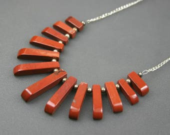 Red jasper stone fan necklace on silver plated chain