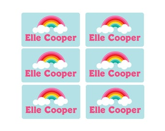 95ct Stick On Clothing Name Labels,Peel and Stick Clothing Labels, Personalized Uniform Labels - Daycare Clothing, RainbowWashable Labels