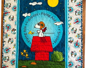 """Peanuts *Snoopy Flying Ace Red Baron* 35""""x43"""" Stippling Quilted Baby Crib Nursery Toddler Child Quilt"""
