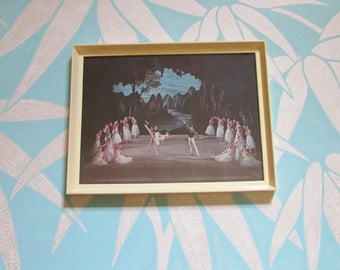 Vintage framed print of Swan Lake ballet troupe by Roger Wood
