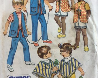 Simplicity 9184 childs pants, vest & poncho size 2 vintage 1970's sewing pattern