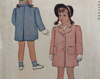 McCall 5971 girls coat size 6 vintage 1940's sewing pattern