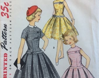 Simplicity 1496 girls dress w/detachable collar size 8 vintage 1950's sewing pattern  Uncut  Factory folds