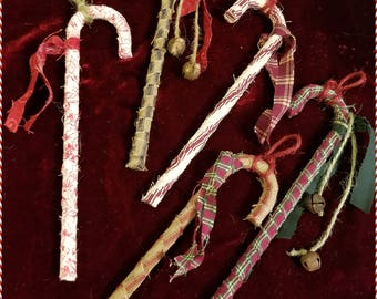 SHABBY PRIMITIVE HOMESPUN Candy Cane Ornaments - Rusty Bells, Vintage Charm, Country Cottage Farmhouse Chic - 5 Tattered Rag Ornies [Set G]