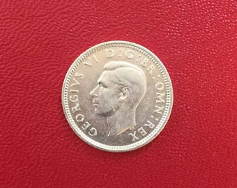 Silver Vintage British Six Pence Coin