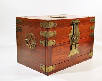 Large Locking Jewelry Box/Oriental Jewelry Box Wood and Brass  box/lock box /sunglasses case /brass box/safe box/lock box /asian jewelry box
