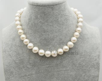 AA+ 12-13mm Big white potato near round Pearl necklace,genuine freshwater Pearl necklace, Natural Pearl Necklace,Freshwater Pearl,NPH1-094