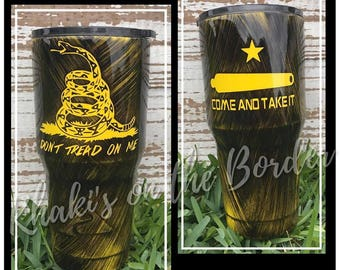 30 oz, Don't Tread on Me/Come and Take It, powder coated, stainless steel tumbler