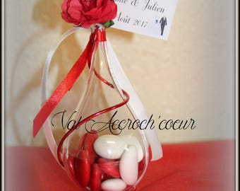 40 romance red and white candy containers