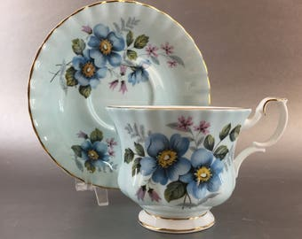 Royal Albert Mint Green and Blue Flower Bone China Tea Cup Vintage England