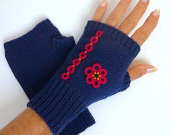 Blue Merino Wool gloves - mittens Navy