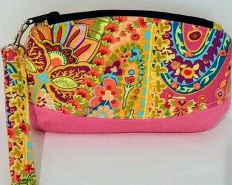 Paisley wristlet, Clematis Clutch, Clematis Wristlet, Wristlet, Makeup Bag, Zipper Bag, Evening Bag, travel bag, toiletry bag, travel bag