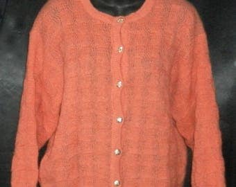 Upscale Vintage Italian Wool BELLANDI Lucca Viareggio Coral Orange Cardigan Sweater 42 L