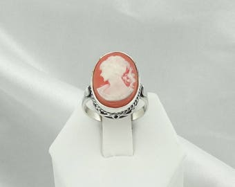 Vintage Sterling Silver Cameo Ring  #CAMEO-SR2
