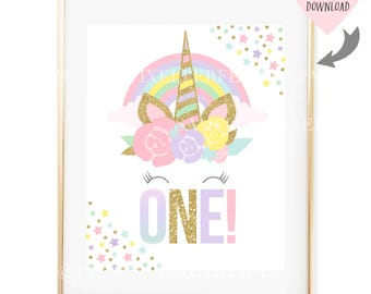 Unicorn Party Sign Unicorn Birthday Sign Unicorn Age One Sign Unicorn Face Sign Unicorn Eyes Sign Whimsical Fairytale Sign Instant Download