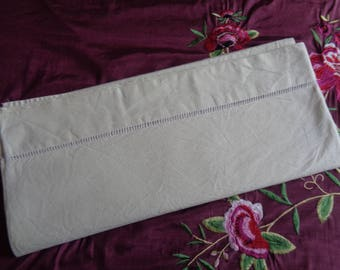 No 34 Vintage Unused French Metis Linen Ecru Ladder Sheet. Perfect!