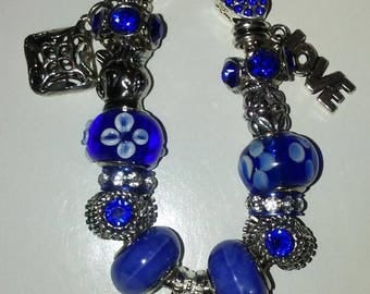 Royal Blue Bracelet with Charms