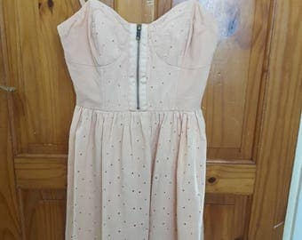Vintage Peach Broderie Anglaise Corset Dress by Topshop