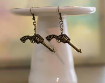 Gun Jewelry, Texas Jewelry, Rodeo Jewelry, Rodeo Earrings, Revolver Jewelry, Revolver Earrings, Pistol Jewelry, Pistol Earrings