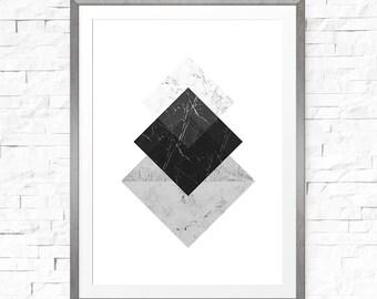 Geometric print, Black Grey Geometric, Modern Wall Print, Square Art, Mid Century Modern, Digital Print Download, Hallway Decor
