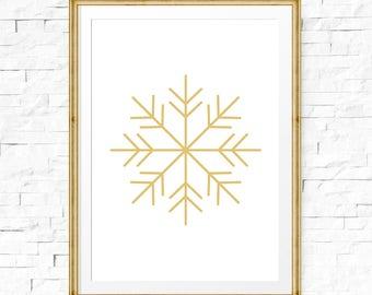 Snowflake Printable, Gold Wall Art, Snow Flake Art, Winter Art, Snowflake Print, Gold Decor, Winter Prints, Wall Prints, Christmas print