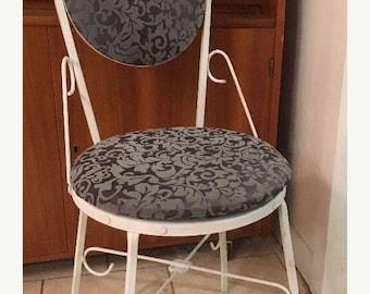 On Sale Vintage Mid Century HOLLYWOOD REGENCY Gray Velvet Wrought Iron VANITY Boudoir Chair