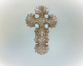 Vintage Ornate Ceramic Cross Painted Rose Gold Upcycled Recycled Wall Home Decor Christian Religious Wall Art