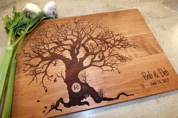 Family Tree Personalized Cutting Board with Engraved Names and Wedding Date in White Oak, Maple, Walnut and Cherry Wood