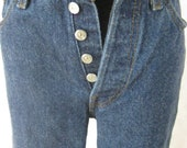 80s 501 Shrink-to-Fit Levi's Jeans, Vintage Dark Rinse Wash 26501 0118 Size 9