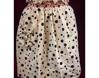 Vintage Black & White Polka Dot Apron