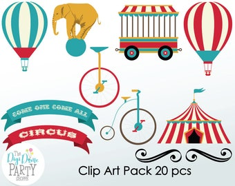 Vintage Circus Digital Scrapbooking Clip Art, Buy 2 Get 1 FREE. Instant Download