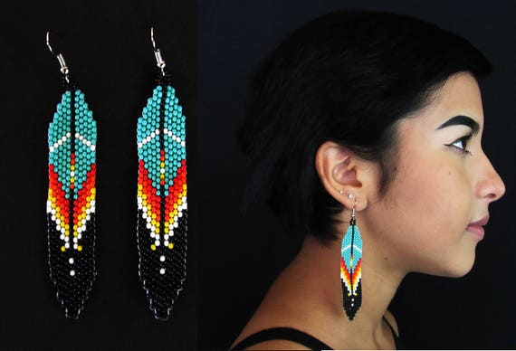 Beaded Feather Native American Style Earrings, Native Huichol Earrings, Boho Tribal Earrings, Authentic Huichol Beadwork, Mexican Beading
