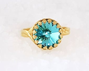 Blue Ring Aquamarine Ring Swarovski ring Crystal Gold Ring Adjustable Ring Gold Ring for women